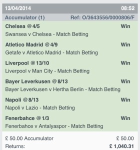 Winning Football Bet Slips