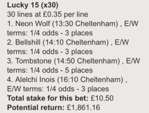 Wednesday's Cheltenham Bets