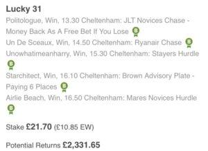 Thursday's Cheltenham Betting Tips