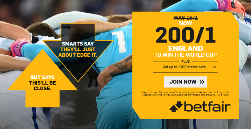 Betfair World Cup Offers - England